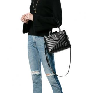 Saint Laurent Black Leather Small Loulou Tote Bag