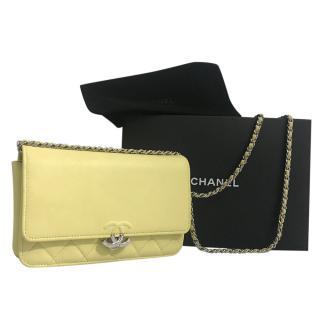 Chanel Pale Yellow Caviar Calfskin Urban Companion Wallet on Chain