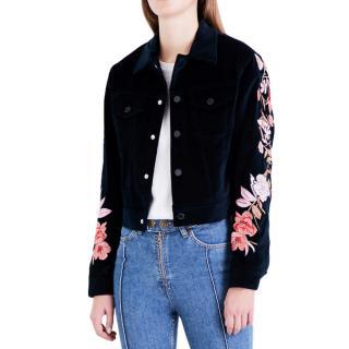 Sandro Blue Embroidered Velvet Jacket