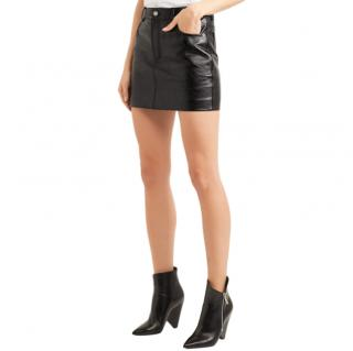 Saint Laurent Black Leather Mini Skirt