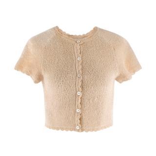 Alaia Beige Short Sleeve Textured Scalloped Crop Cardigan