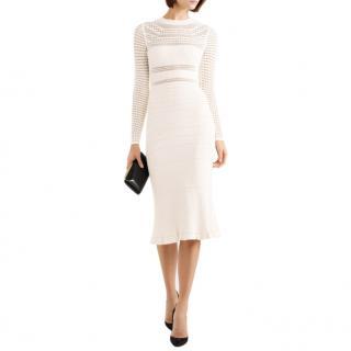 Narciso Rodriguez Paneled ribbed-knit midi dress