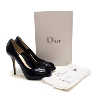 Dior Miss Dior Patent Navy Peep Toe Pumps