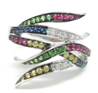 Bespoke Diamonds, Sapphires, Rubies & Tsavorite Garnets 18ct Gold Ring