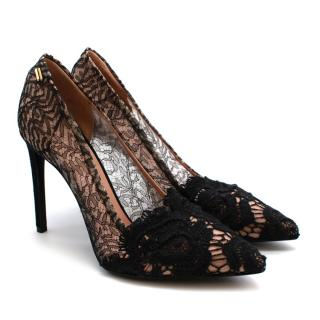 Roland Mouret Black/Nude Lace & Leather Pumps