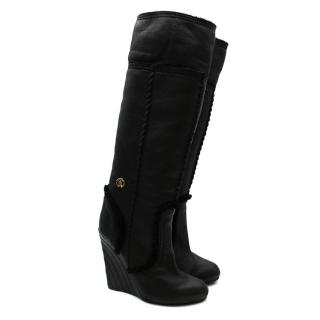 Roberto Cavalli Black Leather Shearling Lined Wedge Boots