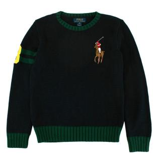 Polo Ralph Lauren Embroidered Navy Knit Sweater