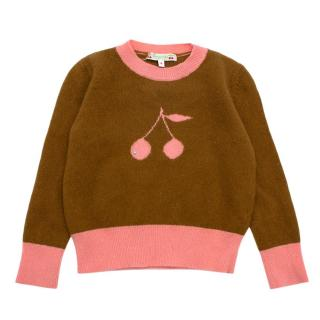 Bonpoint Brown and Pink Cashmere Cherry Jumper