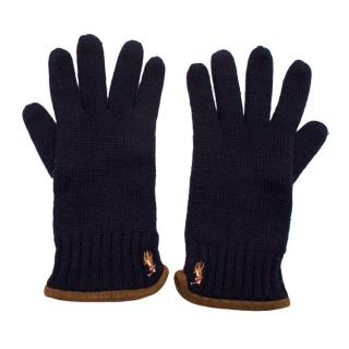 Polo Ralph Lauren Navy Knit Embroidered Gloves