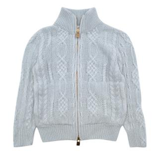 Loro Piana Kid's Blue Knitted Zip-up Jumper