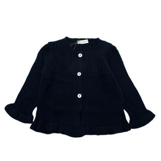 Jo Milano Navy Sustainable Cotton Knit Button Down Cardigan