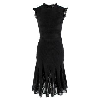 Alexander Mcqueen Ruffle Neck & Sleeve Sheer Knit Dress