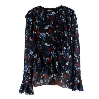 Erdem X H&M Floral Silk Ruffle Blouse