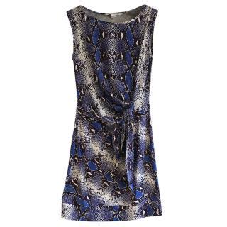DIane Von Furstenberg Snakeskin Print Blue Mini Dress
