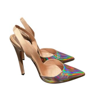 Giambattista Valli Holographic Leather & Satin Specchio Slingbacks