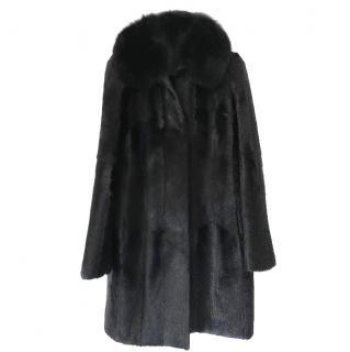 Joseph Black Silk Lined Goat Fur Coat