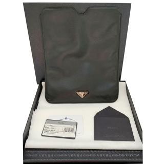 Prada Black Saffiano Leather iPad Pouch