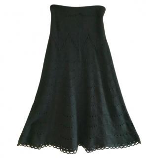 Temperley London Black Crochet Knit Skirt