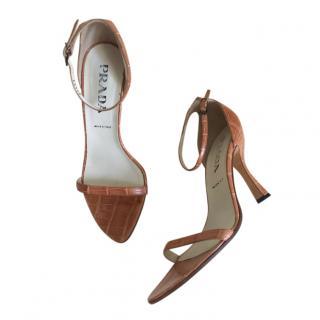 Prada Caramel Brown Crocodile Embossed Sandals
