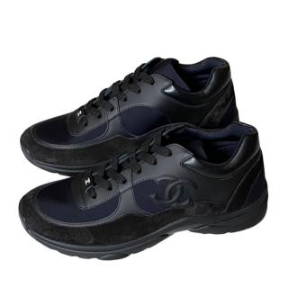 Chanel Black CC Leather & Suede Sneakers