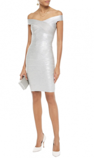 Herve Leger Silver Metallic Bandage Mini Dress