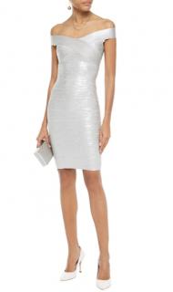 Herve Leger Silver Metallic Bandage Mini Dress