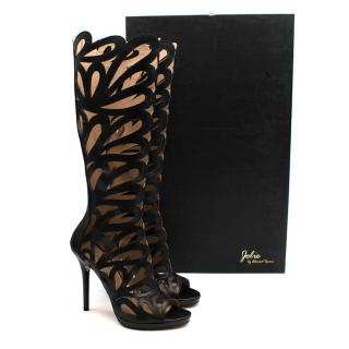 Jolie by Edward Spiers Black Laser Cut High Heel Boots