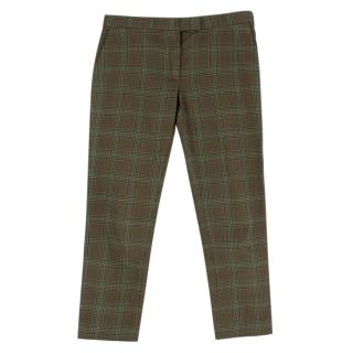 Joseph Dark Green Check Cotton Tailored Trousers