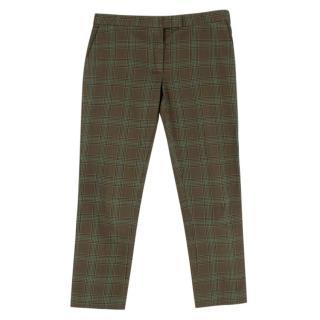 Joseph Dark Green Check Cotton Tailored Trousers