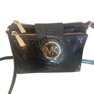 Michael Kors Black Snakeskin Print Crossbody Bag