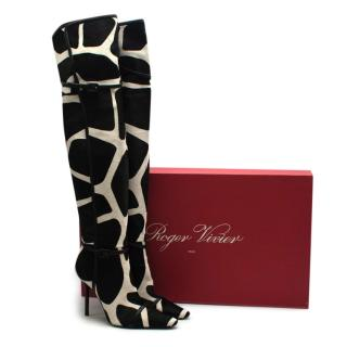 Roger Vivier Giraffe Print Calf Hair Heeled Knee Boots
