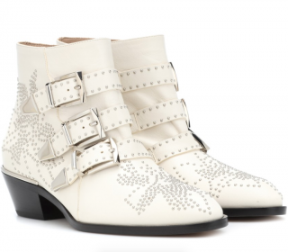 Chloe White Leather Studded Susanna Ankle Boots
