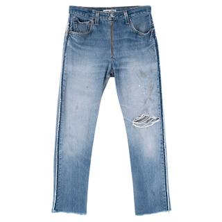 Re/Done x Levi's Light Denim High Rise Cropped Distressed Jeans