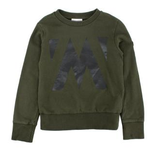 Moncler Khaki Cotton Logo Applique Sweatshirt