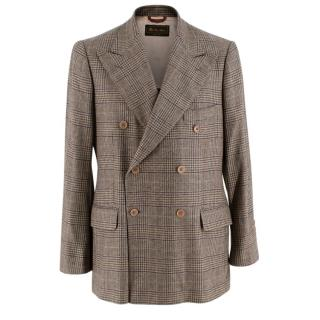 Loro Piana Cashmere Prince of Wales Check Double Breasted Blazer