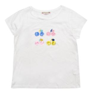 Bonpoint White Cotton Sequin Embellished Cherry T-Shirt