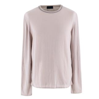 Lanvin Greige Cotton Woven Long Sleeve Top