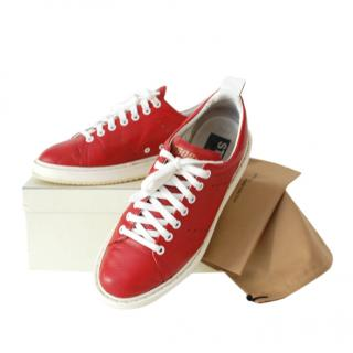 Golden Goose Red Leather Lace-Up Sneakers