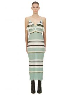 Self Portrait Mint Multi Stripe Knit Cami Dress