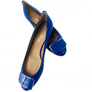 Bally Blue Heline Patent Pumps