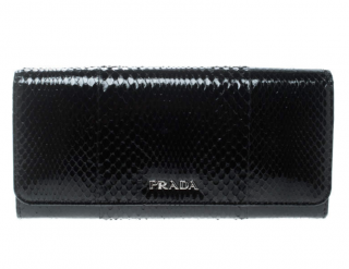 Prada Black Ayers Snakeskin Continental Crossbody Wallet