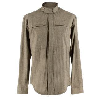 Yves Saint Laurent Olive Green Speckled Cotton Shirt