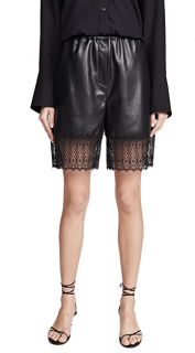 Self Portrait Black Faux Leather Lace Trim Bermuda Shorts
