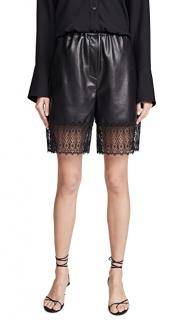 Self Portrait Black Faux Leather Lace Trim Bermuda Shorts