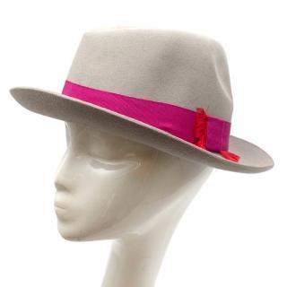 Christys' London Grey Fringed Grosgrain Trim Felt Hat
