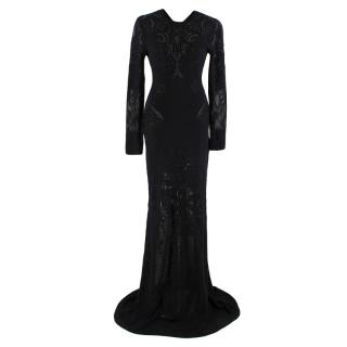 Roberto Cavalli Wool Blend Crochet-Knit Embellished Gown