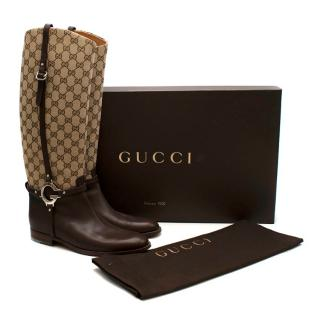 Gucci GG Supreme Leather Knee High Boots