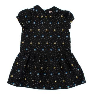 Bonpoint Black Metallic Star A-Line Dress