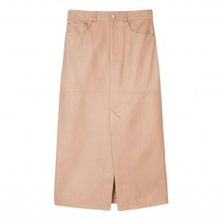 Paul Smith Leather Beige Pencil Skirt