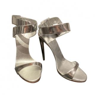 Giuseppe Zanotti Silver Mirrored Leather Sandals